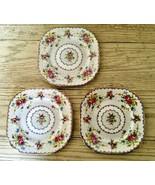 Royal Albert Petit Point 3 Square Dessert Plates Needlepoint Floral Engl... - $34.58