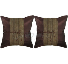 Set 2 BROWN Silk Sofa Decorative Pillow Covers - Middle Stri - $14.99
