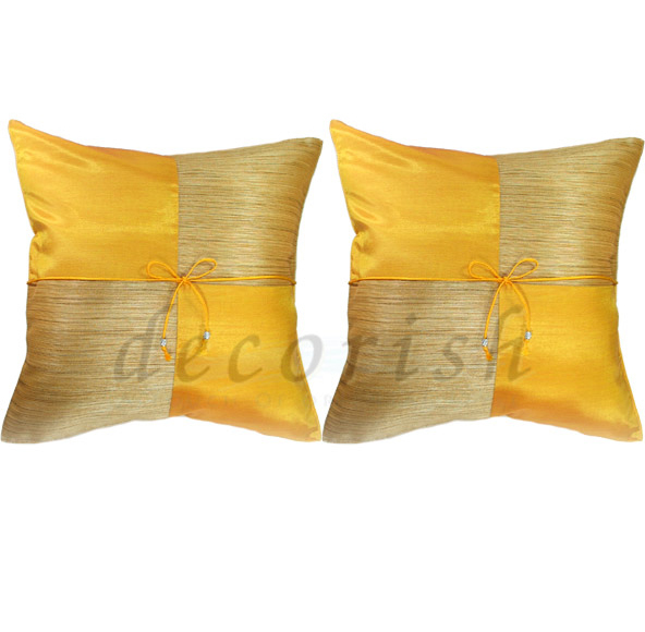 2 GOLD Silk Couch Decorative Pillow Covers - Checker