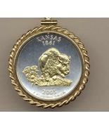 State of Kansas, 2-Toned, Gold on Silver, U.S. Quarter Pendant Necklace - $132.00