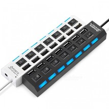 Micro USB Hub 2.0 7Port Hub USB With ON/OFF Switch USB Splitter Adapter ... - $14.49