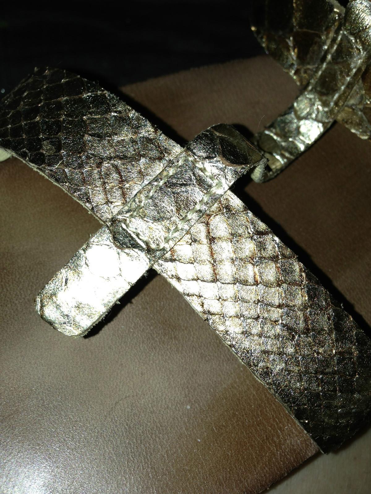 Lanvin HARD TO FIND Python Flats Metallic gold 41 11 Gladiator  sandals - $174.10