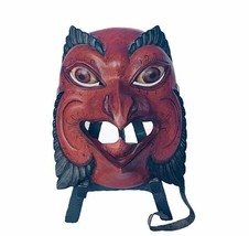 Owl Hand carved mask wood tribal creepy bird figurine cast iron stand ho... - $247.45