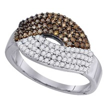 10kt White Gold Womens Round Brown Color Enhanced Diamond Fashion Ring 3... - £344.48 GBP