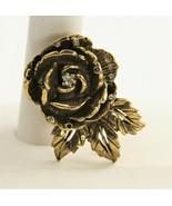 ESTATE VINTAGE Jewelry SIGNED GOLDETTE 3D ROSE FLOWER FIGURAL BROOCH - $35.00