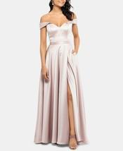 XSCAPE Off-The-Shoulder Satin Gown Beige Size 6 $259 image 2