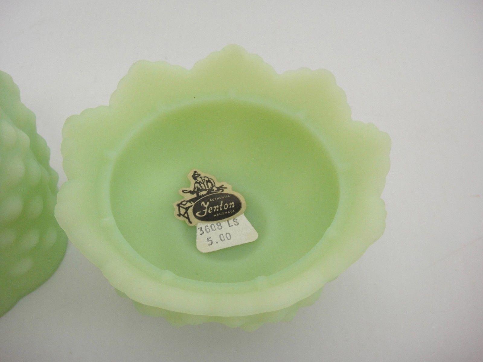 Fenton Lime Sherbet Fairy Light Hobnail Satin Glass Two Parts Original Sticker