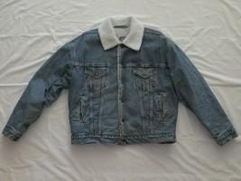 LEVI'S Trucker Denim Vintage Jacket Sherpa Lined Sz L Snap Buttons Red T... - $54.99