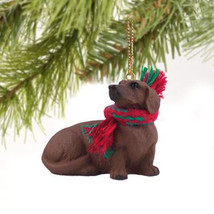 DACHSHUND (RED) DOG  CHRISTMAS ORNAMENT HOLIDAY  XMAS Figurine Scarf - $9.50