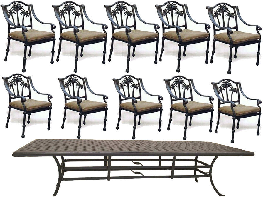"11 piece aluminum outdoor dining set table 120""  with 10 Palm tree dining chairs"