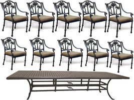 "11 piece aluminum outdoor dining set table 120""  with 10 Palm tree dining chairs image 1"