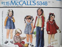 Vintage 70s Pattern Girls size 5 Yoke Dress Top Pants M5348 - $6.95