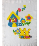Vtg White Mesh Knit Bunny Rabbit Bright Multi Color Baby Blanket Throw 3... - $24.74