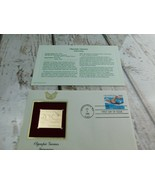 Olympic Game Swimming 22kt Golden Replica Stamp 1990 First Day Stamp  - $19.79