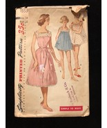 1956 Simplicity Sewing Pattern 1553 SZ 14 Bust 32 Complete Nightgown - $7.69