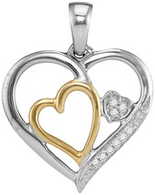 Two-tone Sterling Silver Womens Round Diamond Triple Nested Heart Pendant 1/20 - $40.00