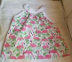 Gymboree Size 8 Sleeveless Flamingo spring summer vacation Dress 100% cotton - $14.03