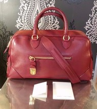 MARC JACOBS COLLECTION Venetia Satchel Shoulder Handbag Cherry Red Leath... - $420.75