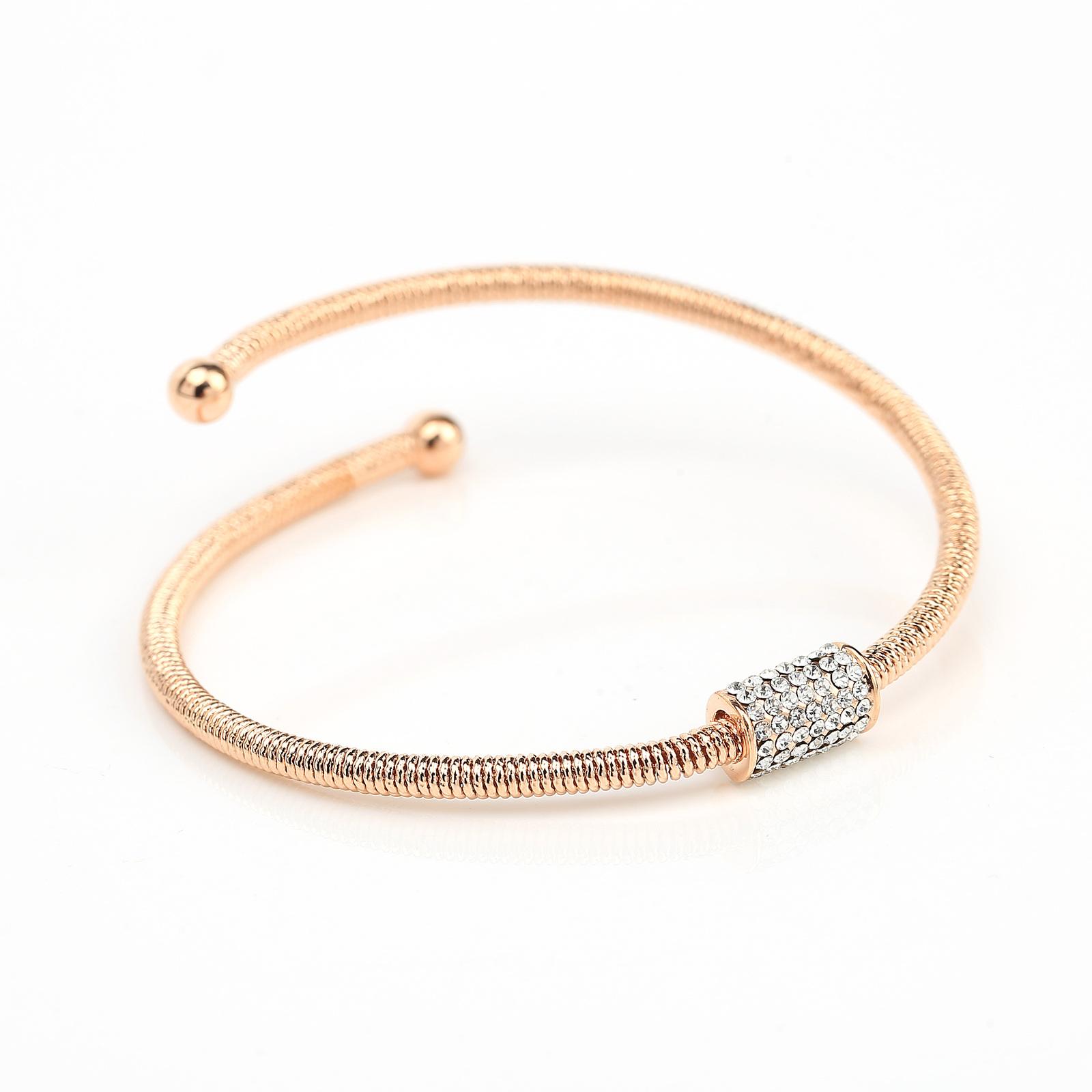 UE- Sleek Designer Rose Tone Wrap Bangle Bracelet With Swarovski Style Crystals