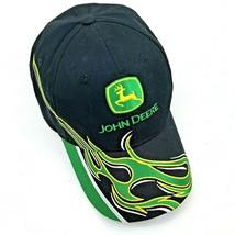 14aa9d228800a John Deere Black Cap Hat Adjustable Fit Racing Flames K-Products Pre-owned -