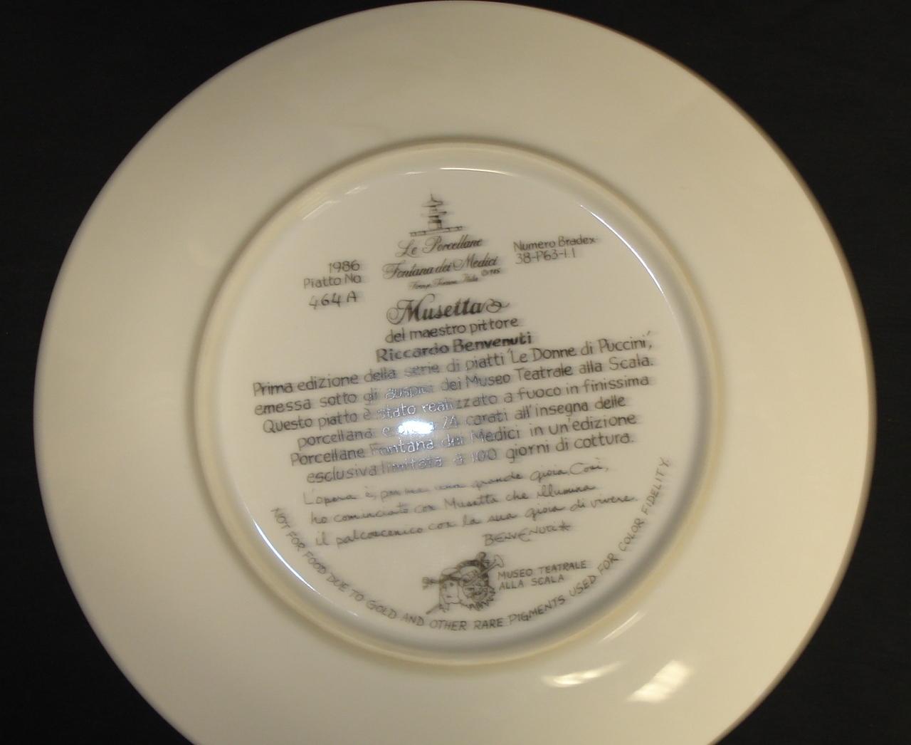 Musetta, Bradex Plate No. 38-P63-1.1, Benvenuti