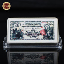 WR US First National Bank of Cleveland 1875 $50 Banknote 999 Colored Sil... - $4.99
