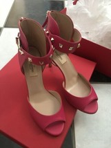 NIB 100% AUTH Valentino Rockstud Ankle Strap Peep Toe Pumps Shoes $945 Sz 36.5 - $453.42