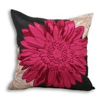"""Black Fuchsia Pink Faux Silk Appliqued Cushion Cover 20"""" x 20"""" (50 x 50 ... - £9.09 GBP"""