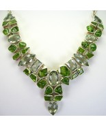 Peridot and Amethyst Green faceted and smooth S... - $291.87
