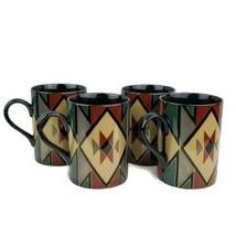 Vintage 1991 Fitz and Floyd Hopi Coffee Mug Set of 4 Porcelain Made in Japan - $39.99
