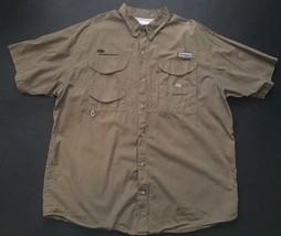 Columbia Dupont PFG Shirt XL Dark Beige Vented Performance Fishing Gear Sporty - $29.69