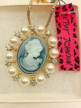 Betsy Johnson Crystal Pearl Gray Lady Cameo Pendant/Brooch - $19.00
