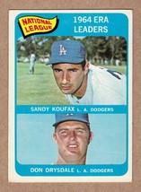 1965 Topps #8 Koufax & Drysdale ERA Leaders Near Mint NM cond. - $40.00