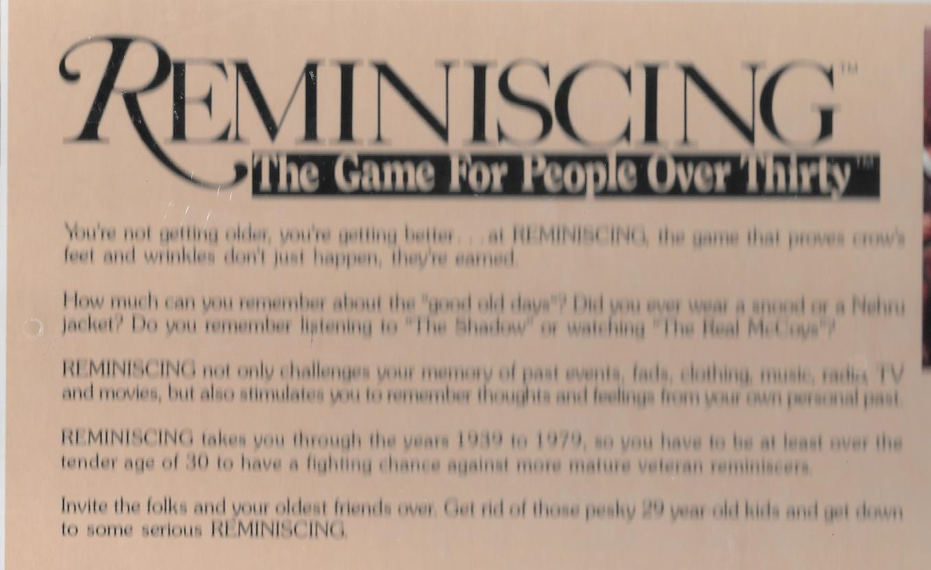 Reminiscing Game for people over thirty 1989 memory vintage history