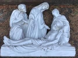 Architectural Old Terracotta Garden Sculpture Jesus Christ Body Mary & D... - €507,36 EUR