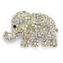 "Gold Tone Aurora Borealis Crystal Elephant Brooch Pin 2"" - $23.54"