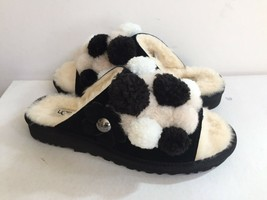 UGG CLIO POM POM SLIDE BLACK SHEARLING LINED SLIPPERS US 7 / EU 38 / UK 5.5 - $98.18