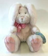 Applause Petey Bunny Rabbit Dakin Peek A Boo White Pink Ears Move Bow 53... - $19.75