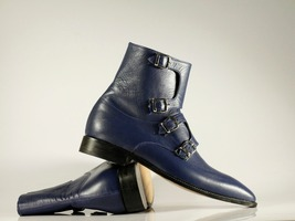 Handmade Men's Blue Leather High Ankle Monkstrap Boots image 4