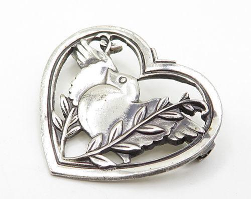 CORO 925 Sterling Silver - Vintage Baby Bird Open Love Heart Brooch Pin - BP2011 image 2