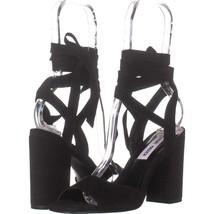 Steve Madden Kenny Ankle Strap Sandals 511, Black Nubuck, 6.5 US - $31.67