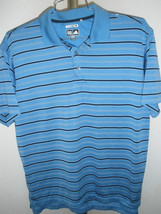 Mens Adidas ClimaCool Polo Dark Sky Blue w/Black/White Striping Sz M - $25.73