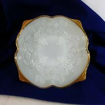 """Anchor Hocking Milk Glass Pedestal Bowl Grape Cluster Gold Trim Vintage 10"""" - $39.56"""
