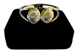 Silver Steel Scrimshaw Tall Ships Clamper Bracelet Vintage - $27.55