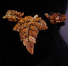 200 rhinestone Weiss Demi Parure - Vintage Brooch - clip on Earrings - c... - $145.00