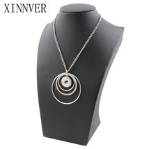 Fashion Metal Snap Necklace Round Circles Elegant Length Fit Buttons Jew... - $152,79 MXN