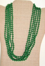 Vintage plastic multi strands light weight 5 strand Necklace Green Mod P... - $7.87