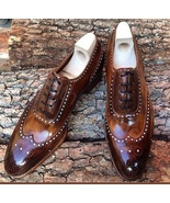 Men's Leather Wingtip Shoes, Handmade Leather Brown Patina Wingtips Dres... - $159.99+