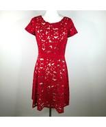 NUE by Shani Misura 4 3D Stampato Fit a Zampa Rosso Vestito Camicia Form... - $79.23