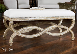 "NEW 42"" CARVED WHITE MAHOGANY WOOD CUSHIONED SEAT BENCH BRASS NAIL DETAIL - $591.80"
